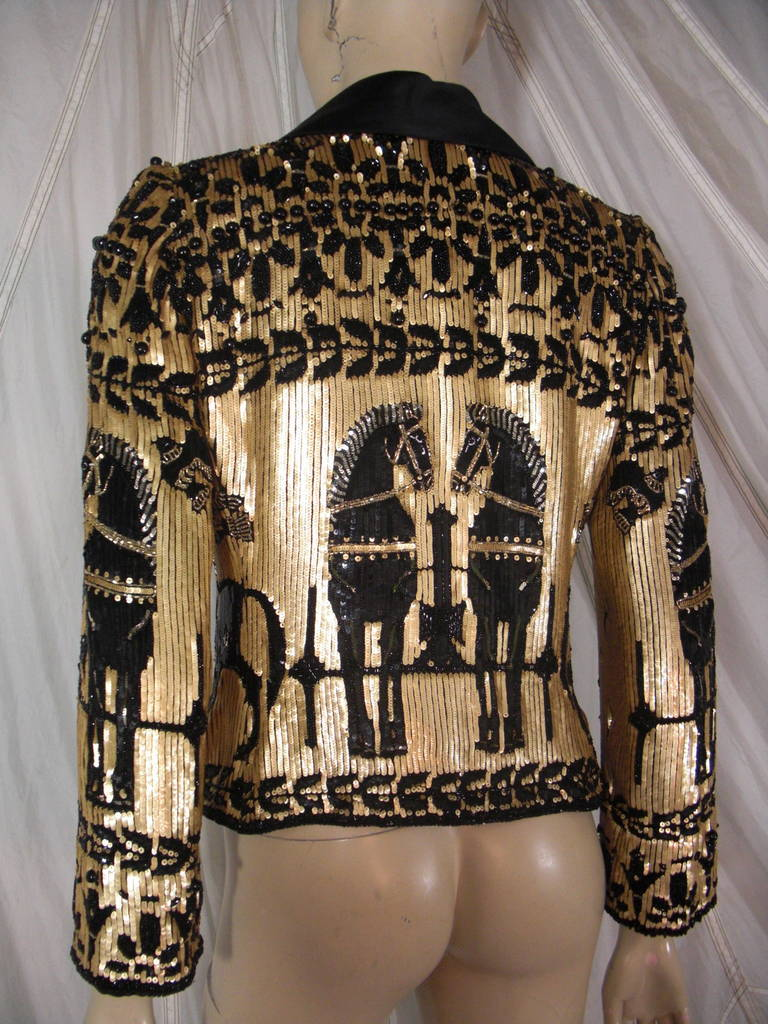 Women's 1980s Valentino Black and Gold Sequin Jacket