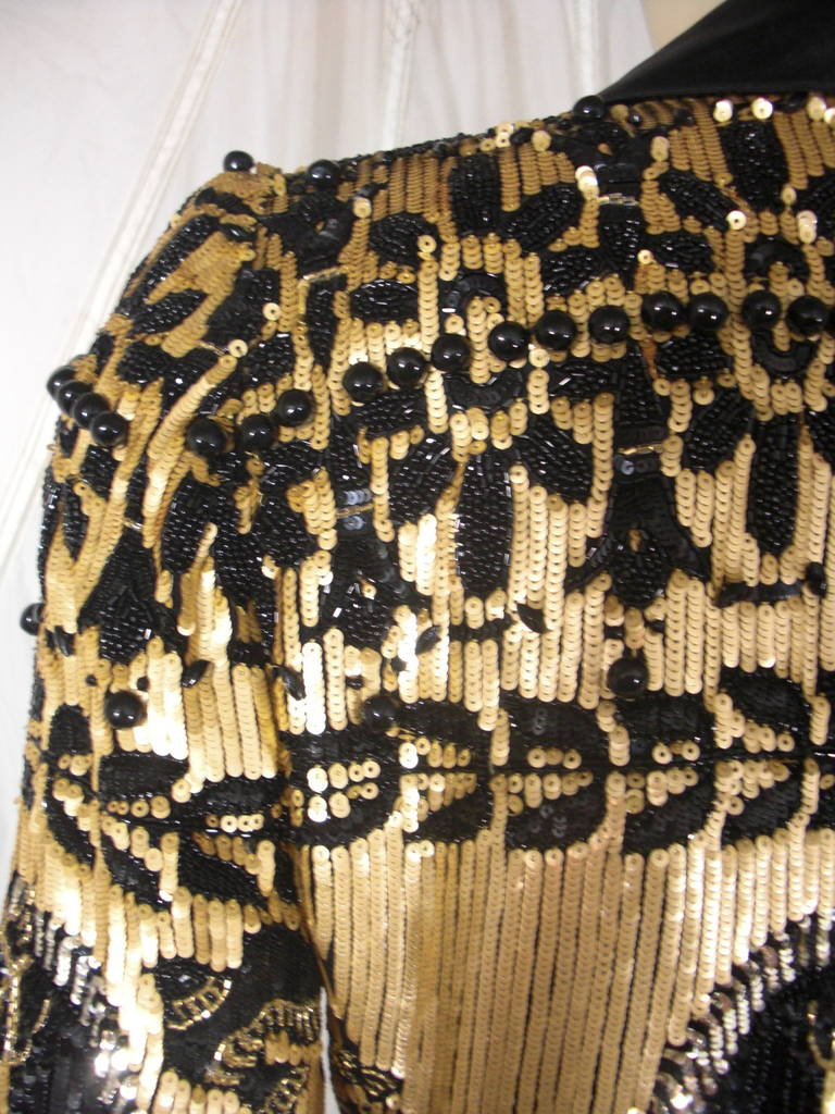1980s Valentino Black and Gold Sequin Jacket 1