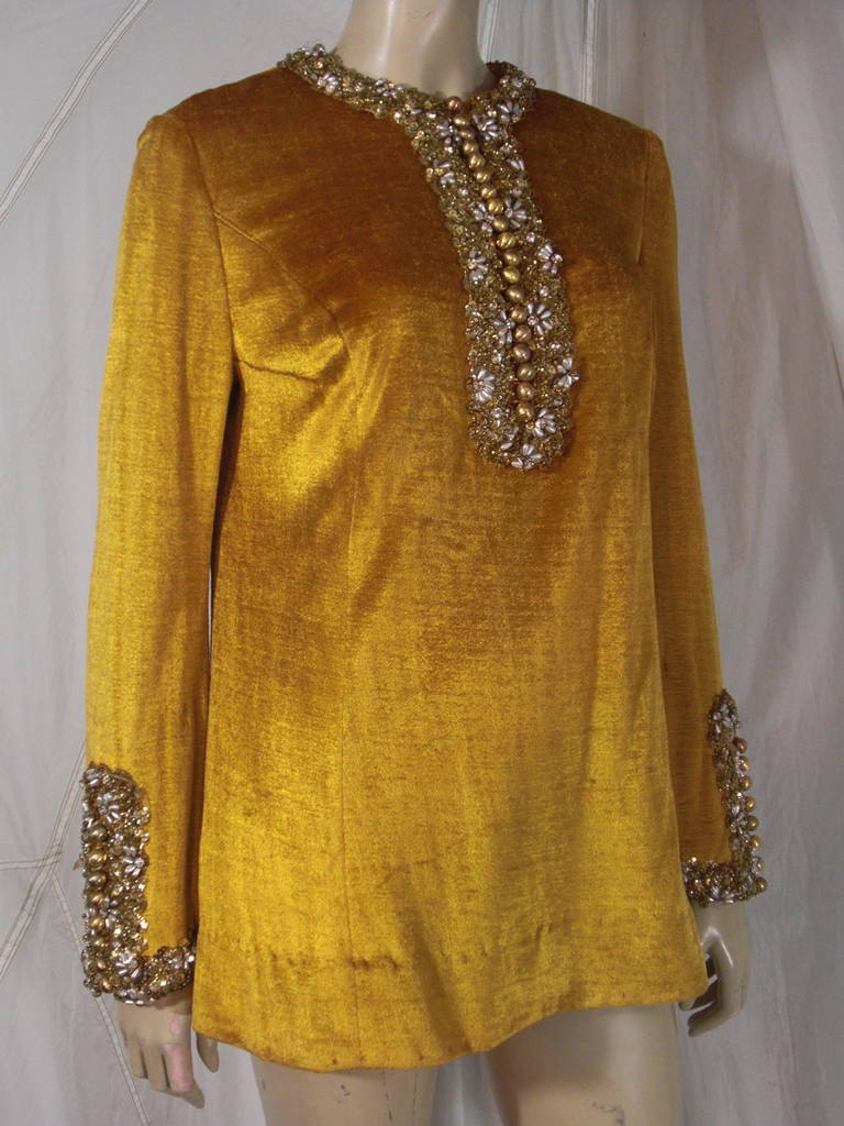 Women's or Men's 1960s Gold Crushed Velvet Beaded Tunic For Sale