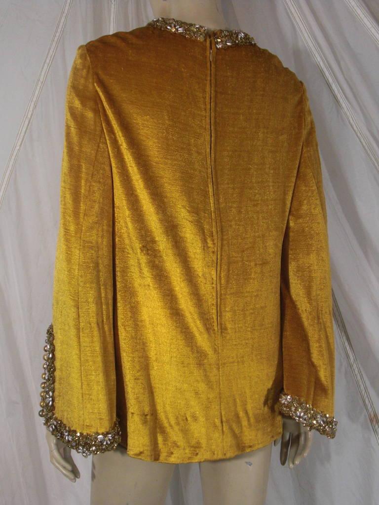1960s Gold Crushed Velvet Beaded Tunic For Sale 1