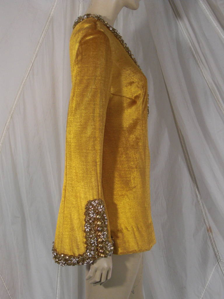 1960s Gold Crushed Velvet Beaded Tunic For Sale 3