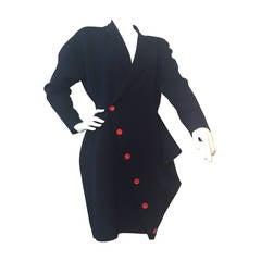 1980s Yohji Yamamoto Navy Stretch Wool Jersey Asymmetrical Coat Dress