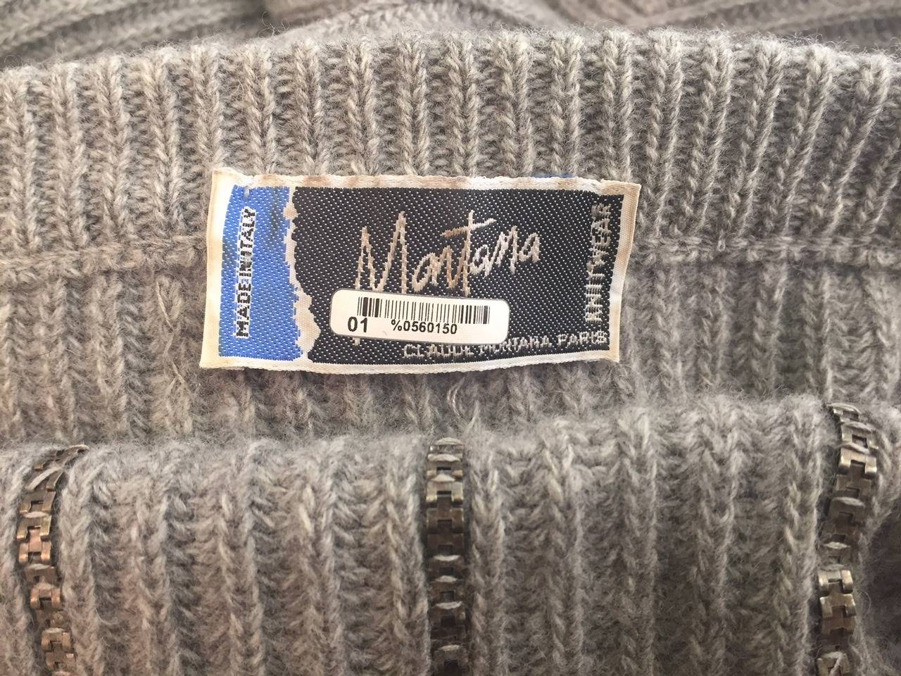 1980s Claude Montana Over-Sized Gunmetal Sweater w/ Chainlink Stripes. 7