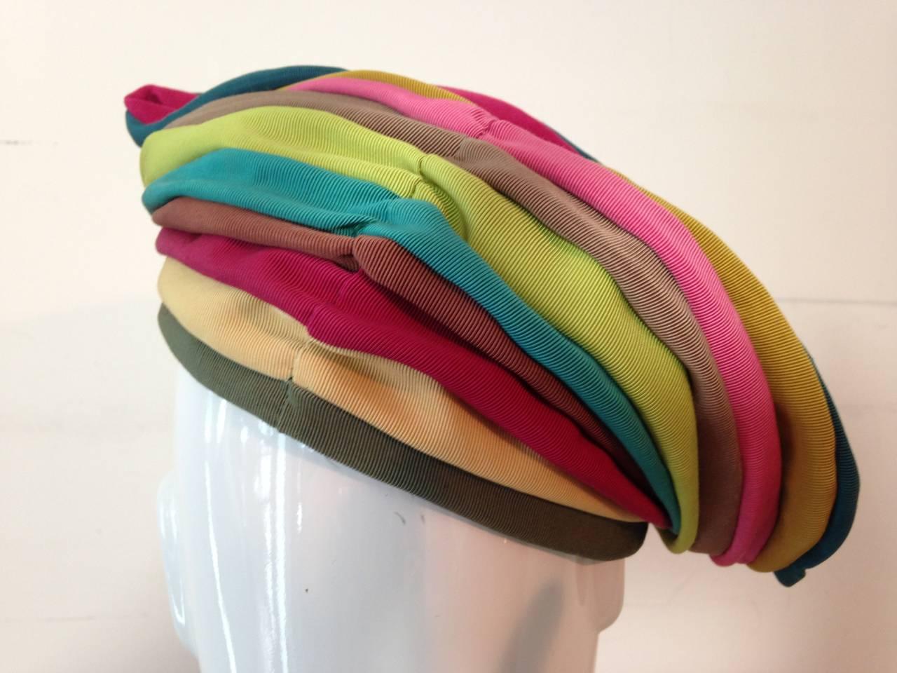 1940s Irina Roublon Multi-Color Grosgrain Striped Avant Garde Hat 7