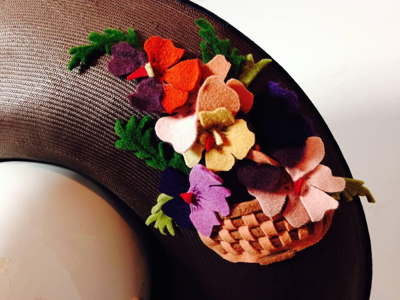 Black 1940s Irina Roublon Fine Brown Straw Large Brim Hat w/ Felt Bouquet Trim For Sale