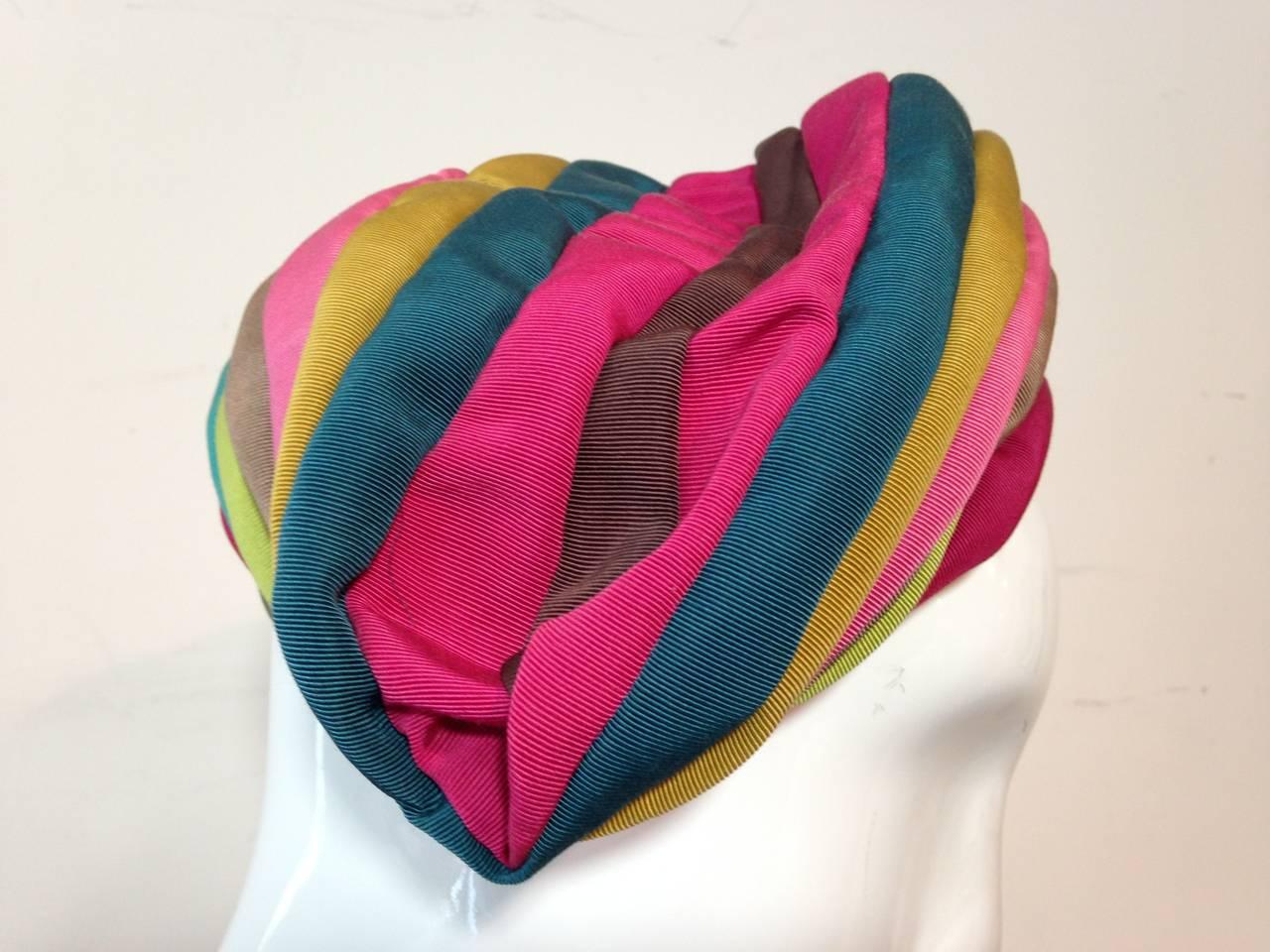 1940s Irina Roublon Multi-Color Grosgrain Striped Avant Garde Hat 8
