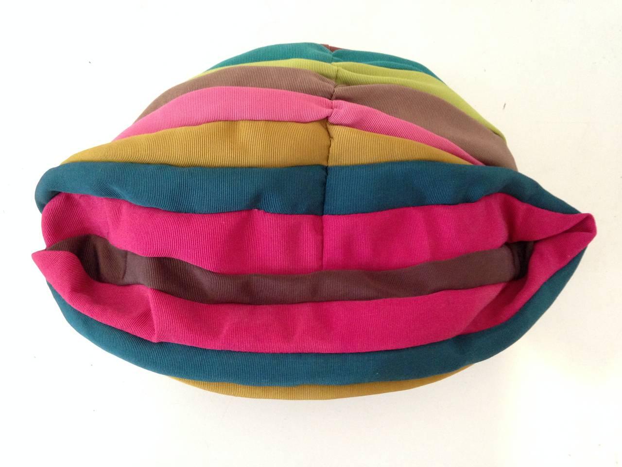 1940s Irina Roublon Multi-Color Grosgrain Striped Avant Garde Hat 4