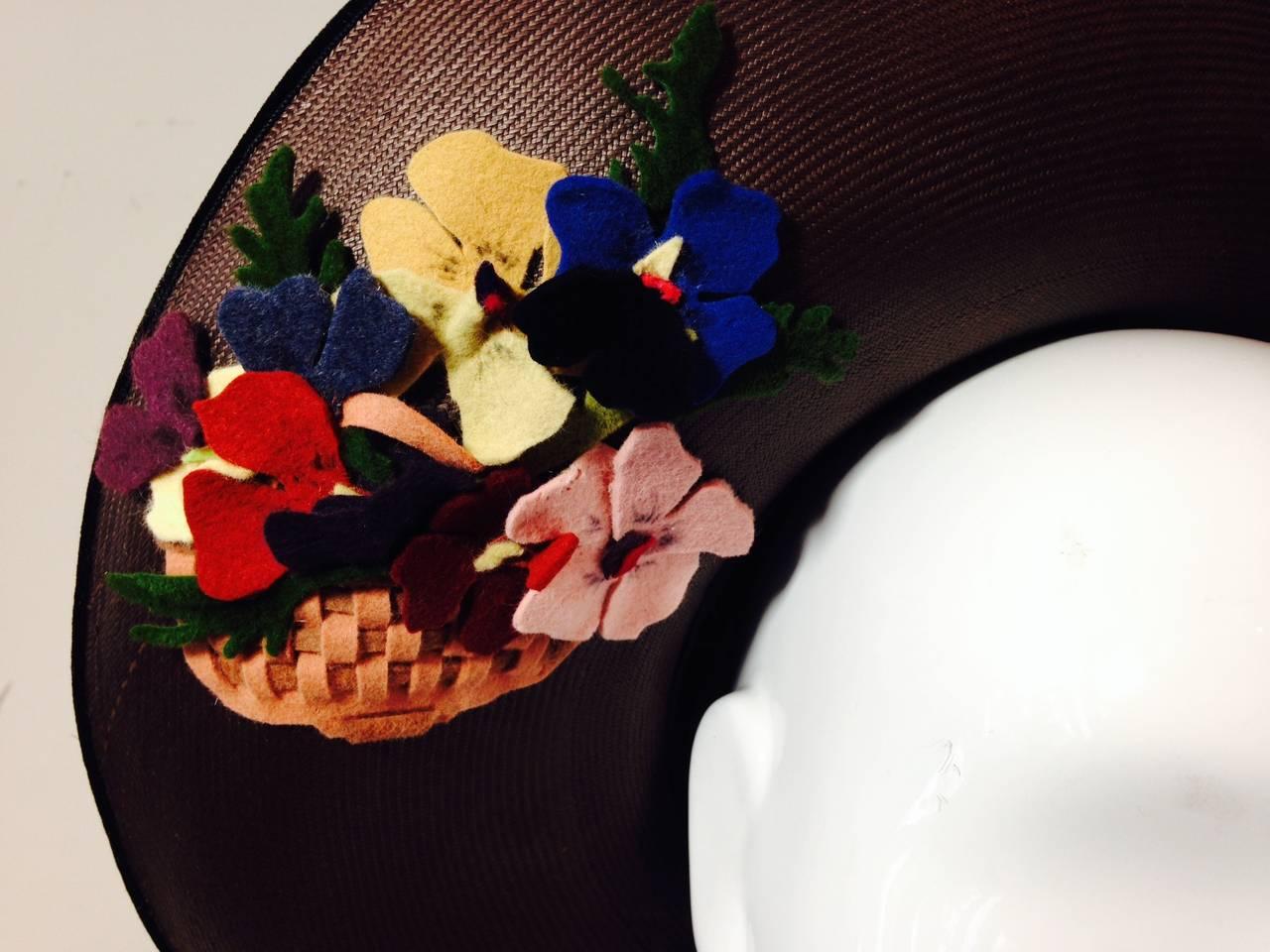Women's 1940s Irina Roublon Fine Brown Straw Large Brim Hat w/ Felt Bouquet Trim For Sale