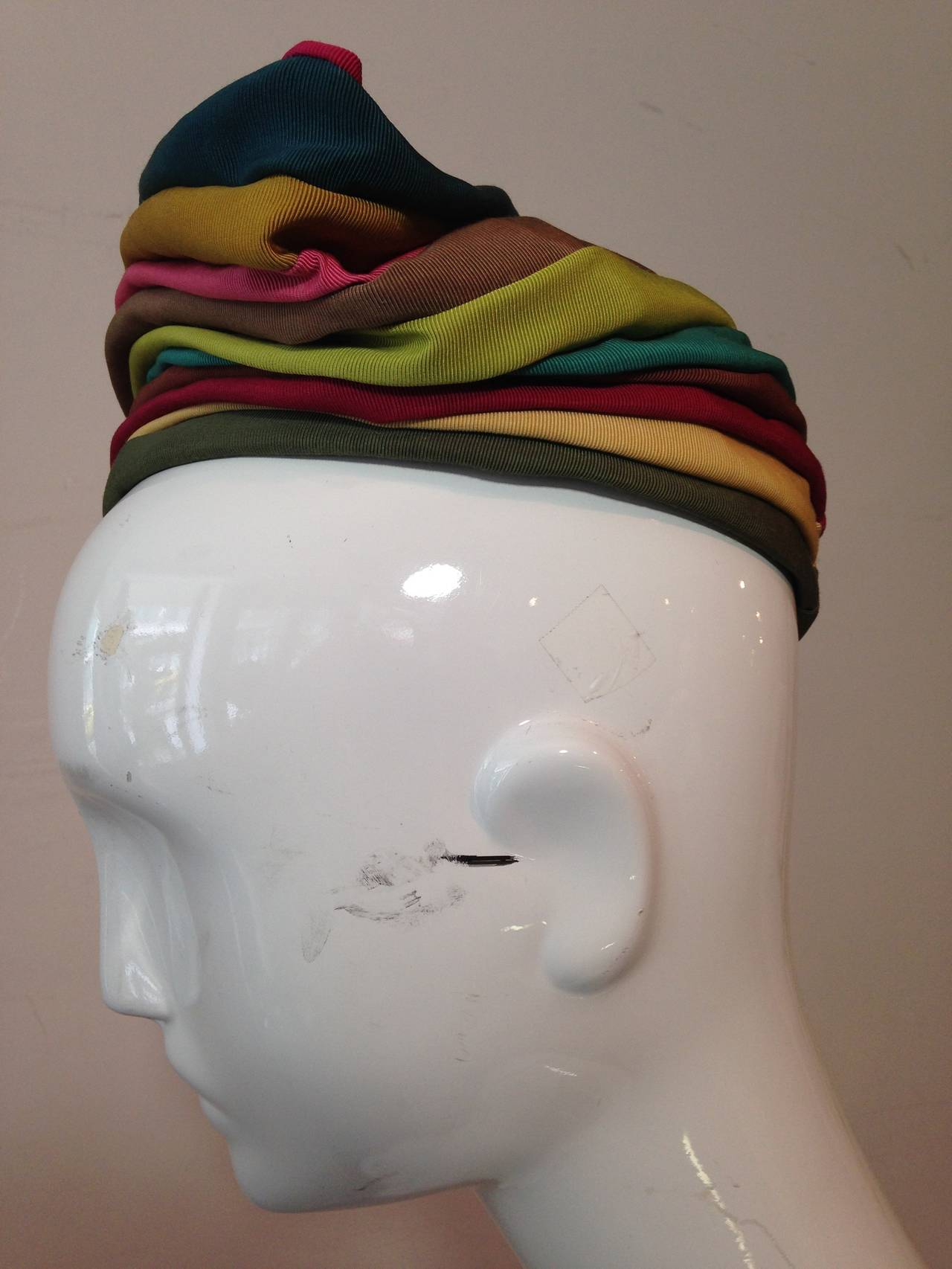 1940s Irina Roublon Multi-Color Grosgrain Striped Avant Garde Hat 5