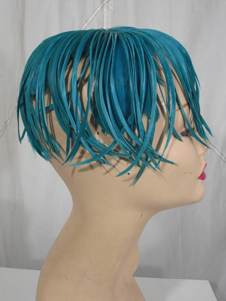 1950s Turquoise Feather Fringe Cocktail Hat 3