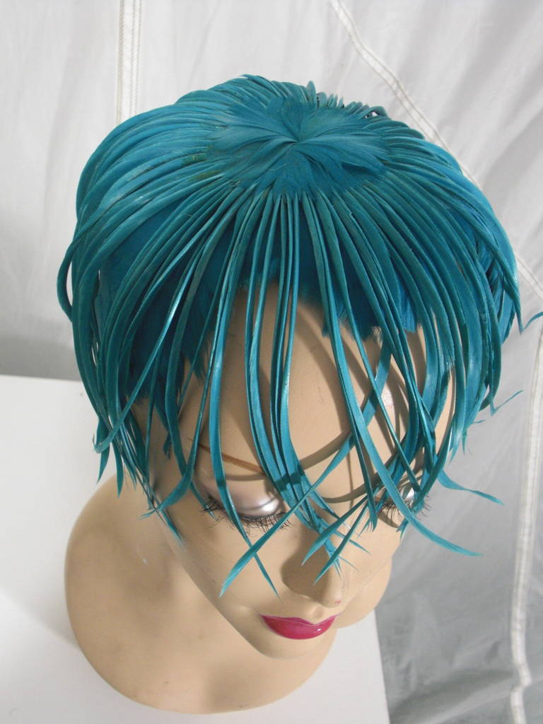 1950s Turquoise Feather Fringe Cocktail Hat 7