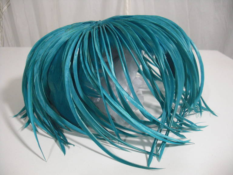 1950s Turquoise Feather Fringe Cocktail Hat 2