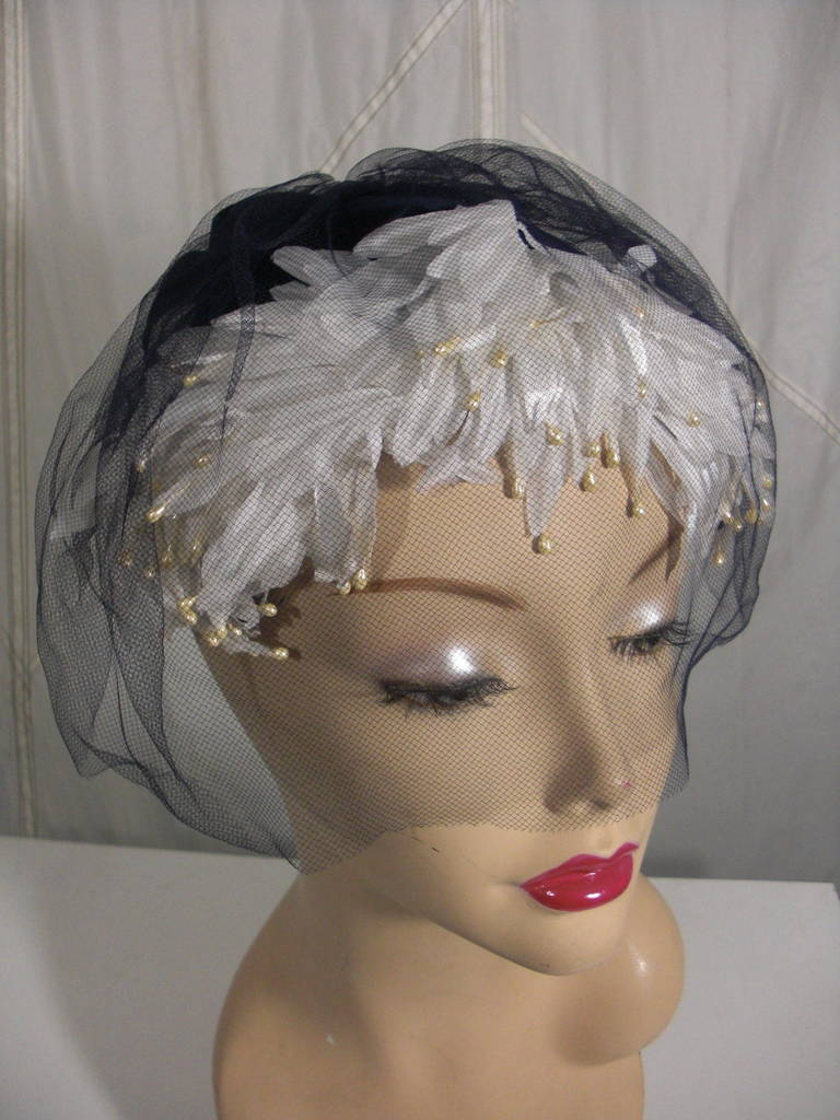 Gray 1950s White and Black Faux Feather and Pearl Cocktail Hat with Veil For Sale