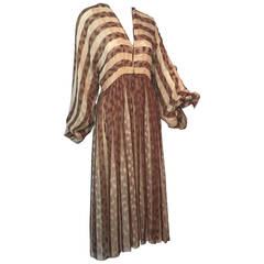1970s Galanos Leopard Print Striped Silk Chiffon Peasant Dress
