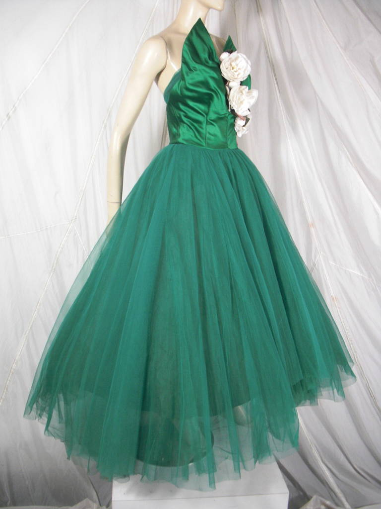 1950s Nanty Silk and Tulle Ball Gown with Floral Accents and 