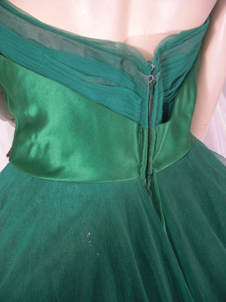 1950s Nanty of Paris Silk and Tulle Ball Gown with Floral Accents For Sale 1