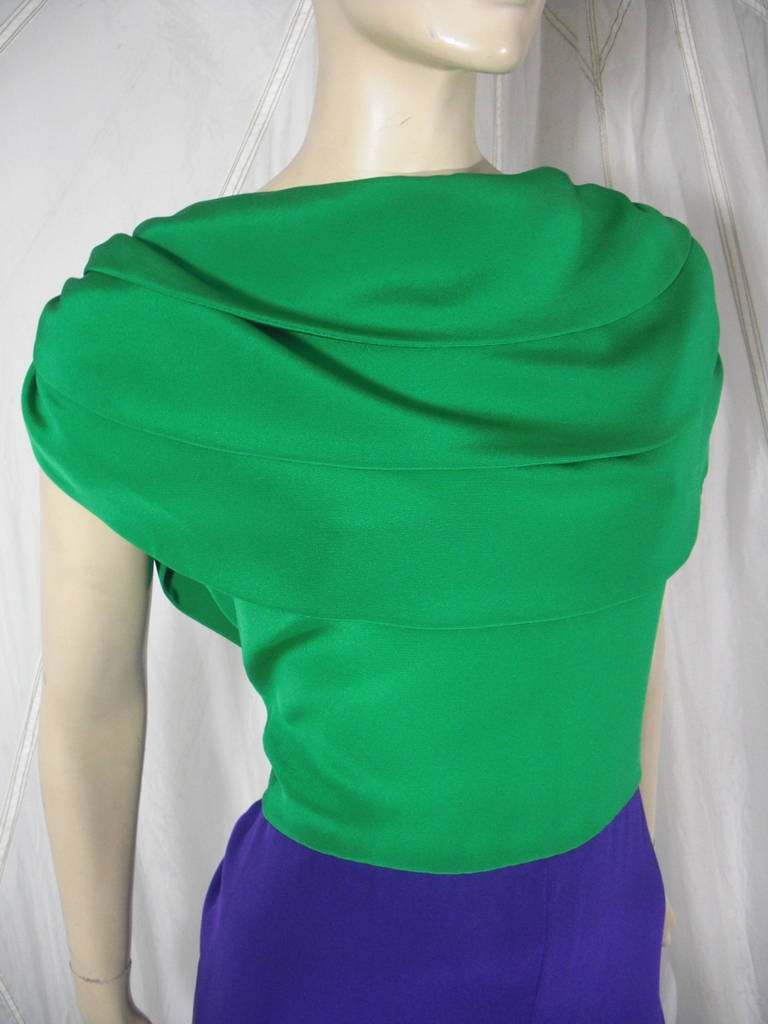 1980s Galanos Green and Purple Cowl Neck Evening Gown with Plunging Back For Sale 2