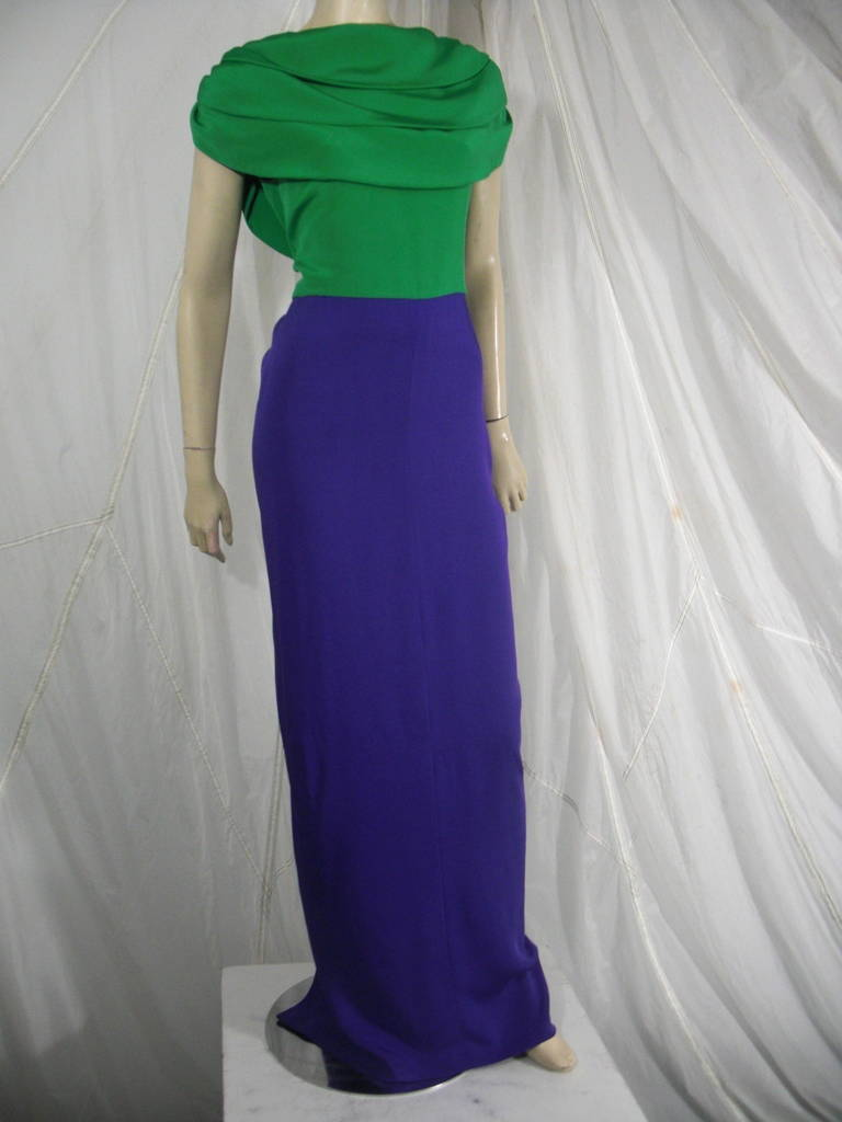 1980s Galanos Green and Purple Cowl Neck Evening Gown with Plunging Back For Sale 3
