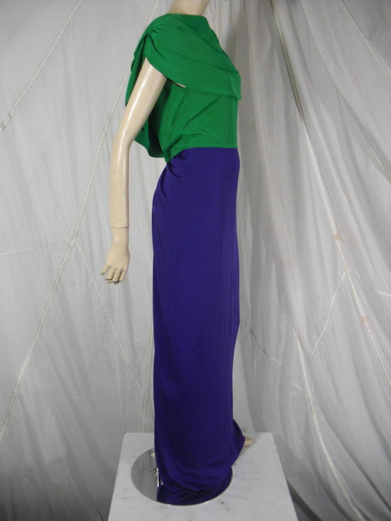 1980s Galanos Green and Purple Cowl Neck Evening Gown with Plunging Back 2