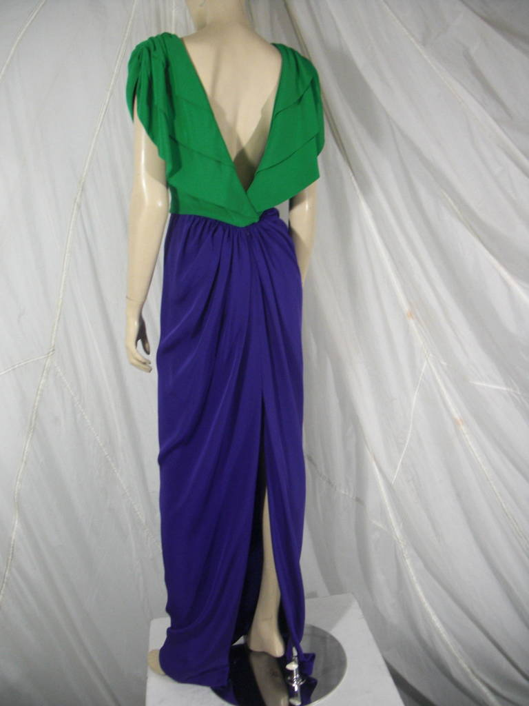 1980s Galanos Green and Purple Cowl Neck Evening Gown with Plunging Back For Sale 4