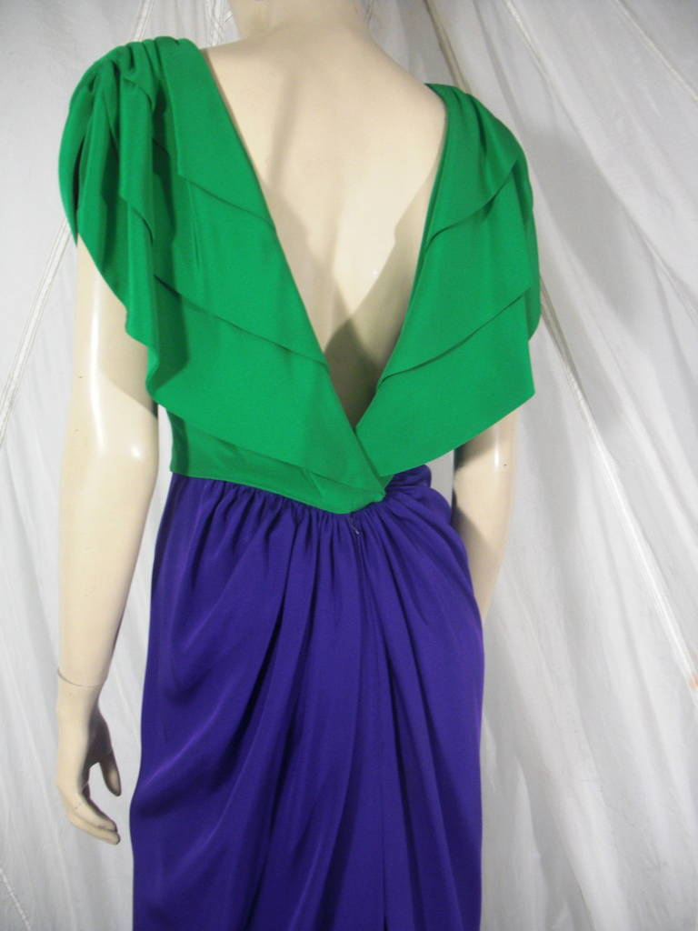 1980s Galanos Green and Purple Cowl Neck Evening Gown with Plunging Back For Sale 1