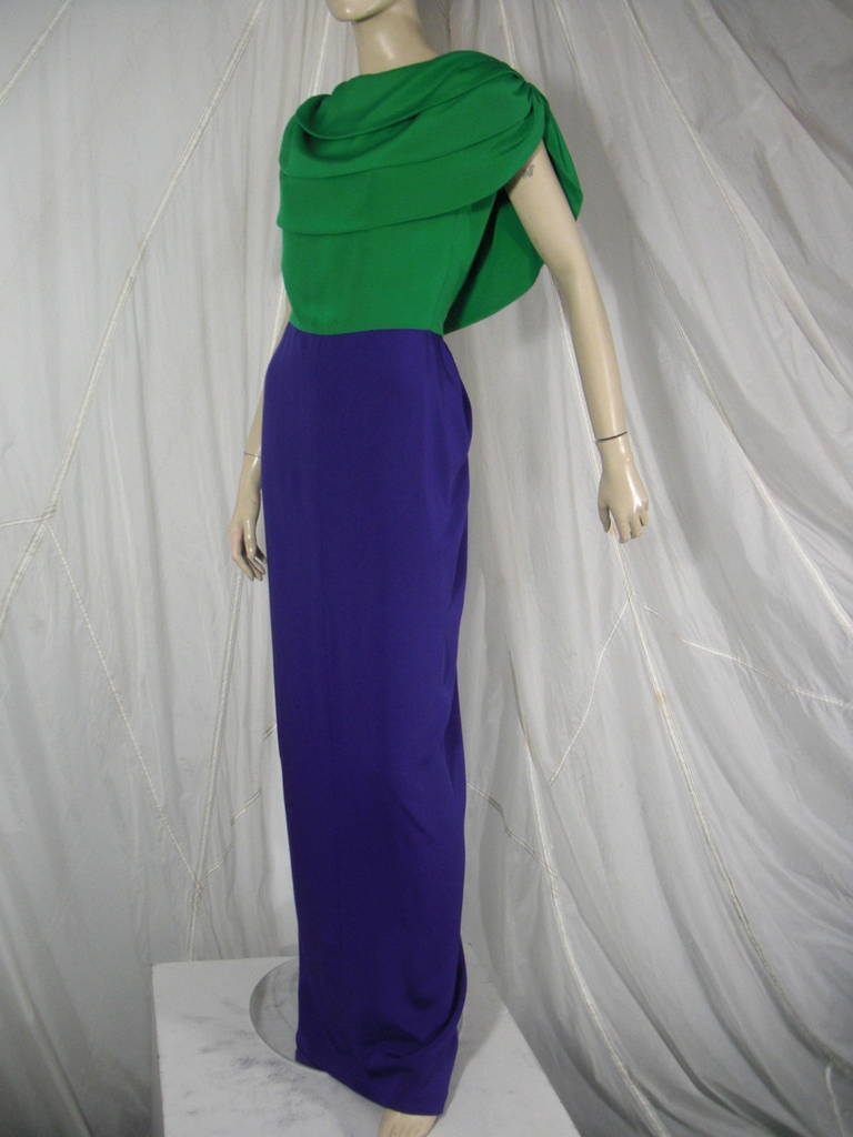 Women's 1980s Galanos Green and Purple Cowl Neck Evening Gown with Plunging Back For Sale