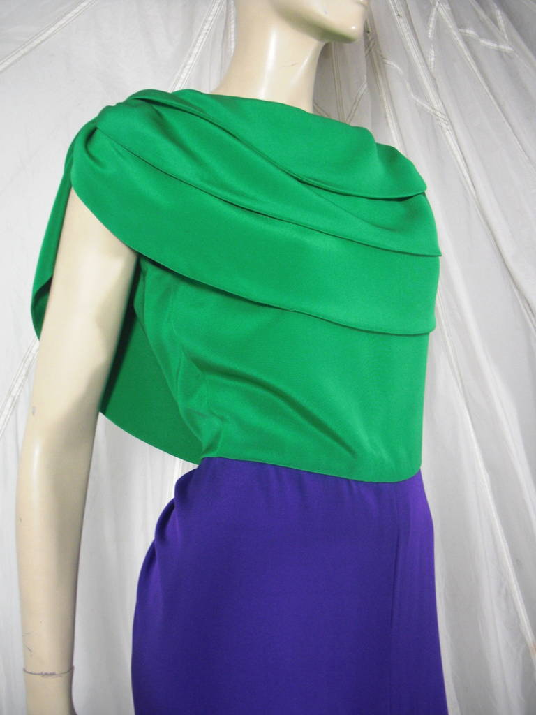 1980s Galanos Green and Purple Cowl Neck Evening Gown with Plunging Back For Sale 5