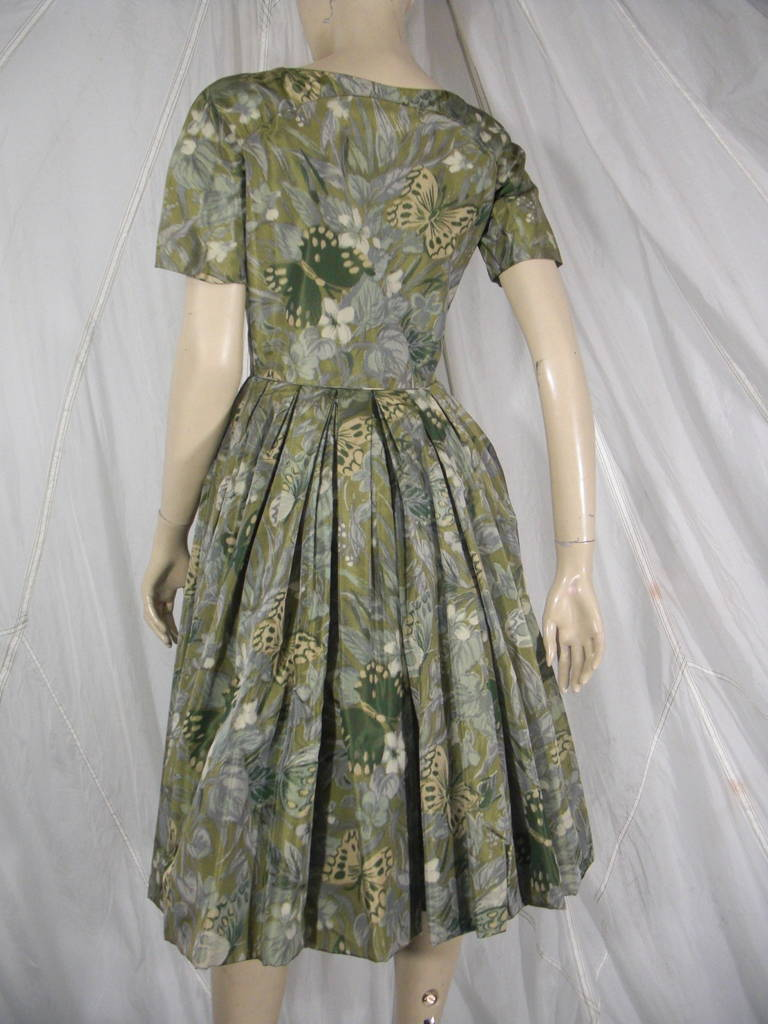 1950s Galanos Silk Print and Knife Pleat Cocktail Dress 4