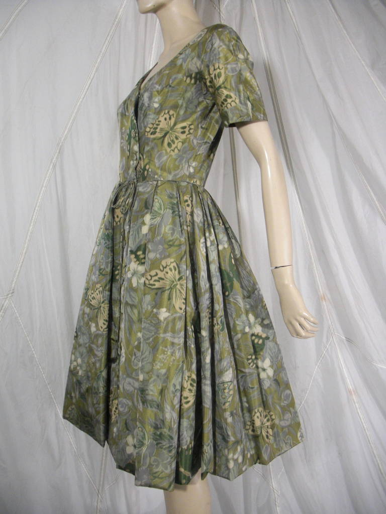 1950s Galanos Silk Print and Knife Pleat Cocktail Dress 3