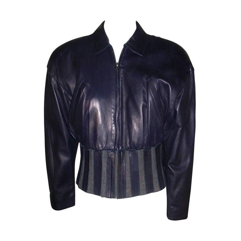 1980s Claude Montana Aubergine Leather Corseted Bomber 1