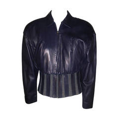1980s Claude Montana Aubergine Leather Corseted Bomber