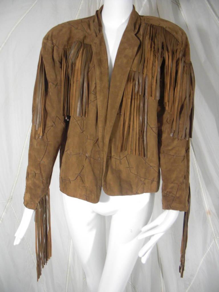 1980s Claude Montana Brown Suede Fringe Jacket 2