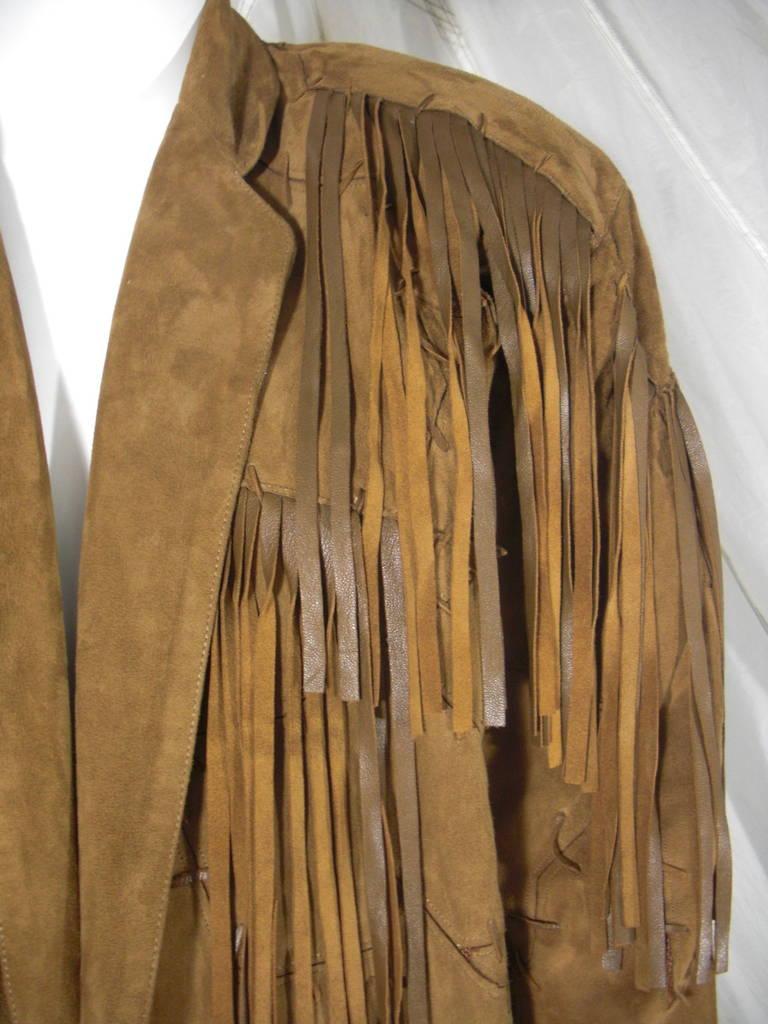 1980s Claude Montana Brown Suede Fringe Jacket 6