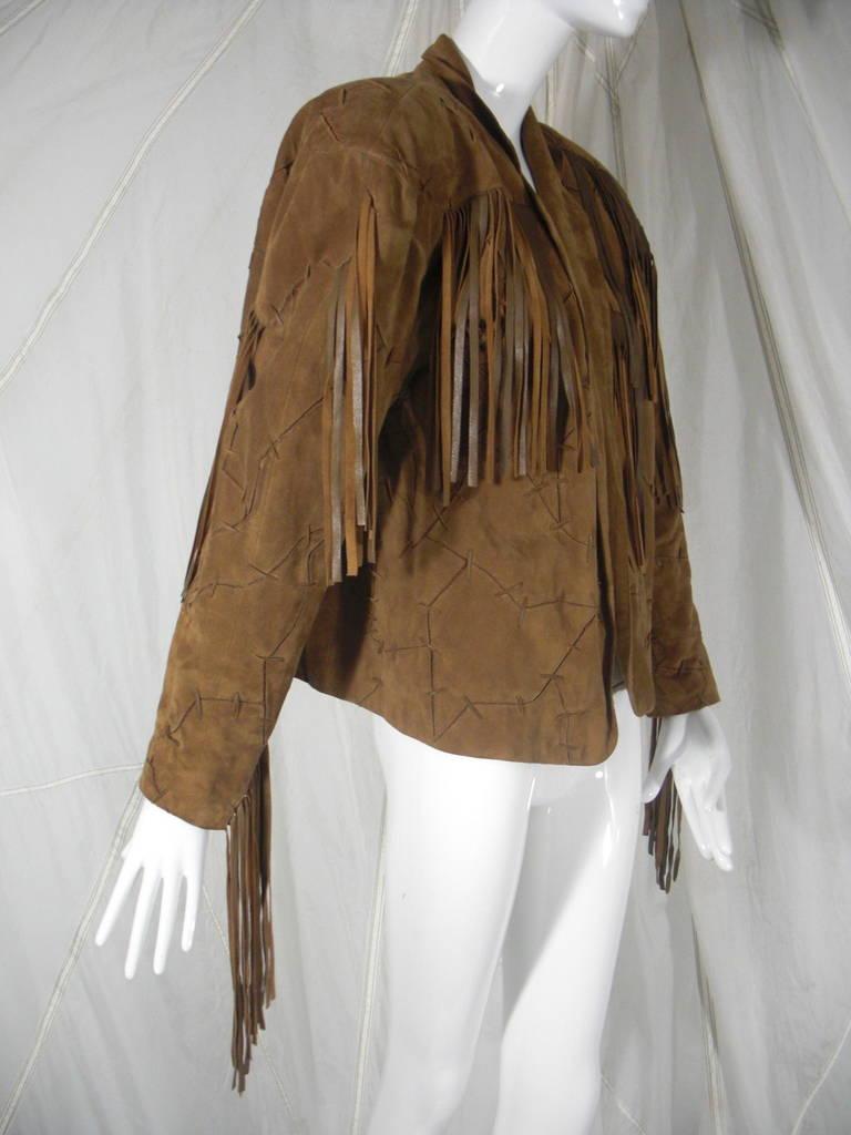1980s Claude Montana Brown Suede Fringe Jacket 3