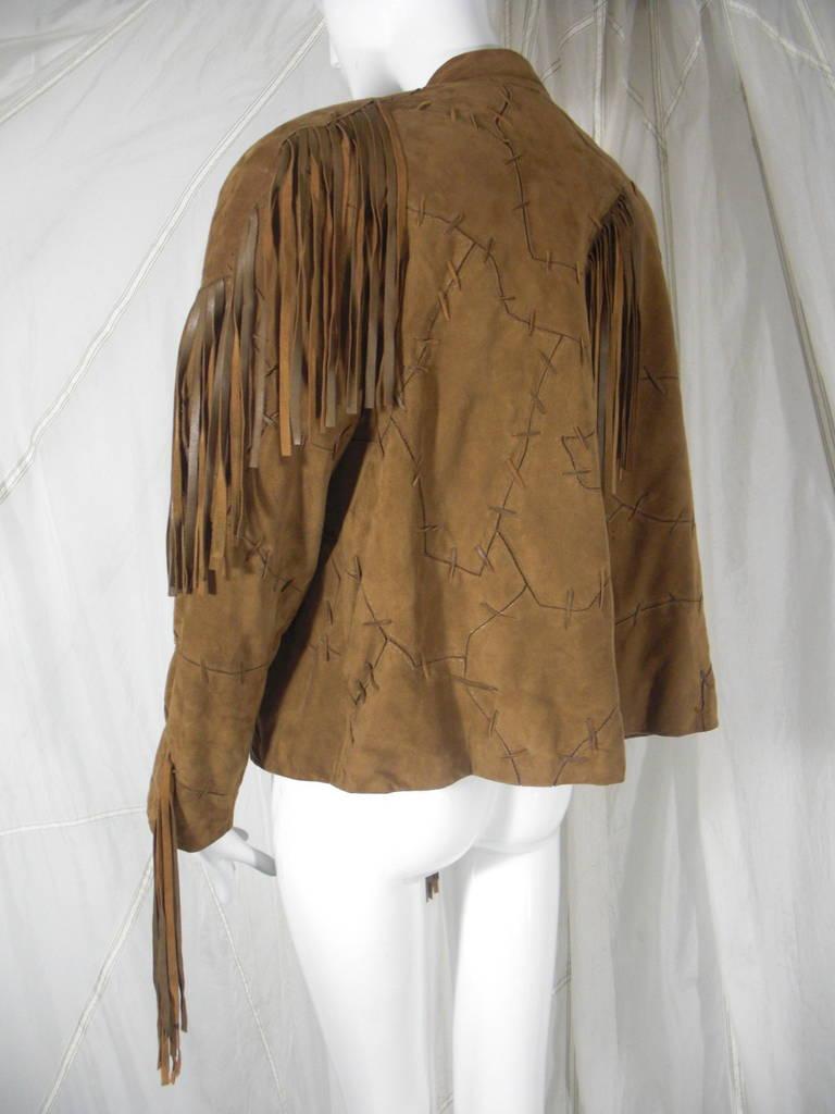 1980s Claude Montana Brown Suede Fringe Jacket 7