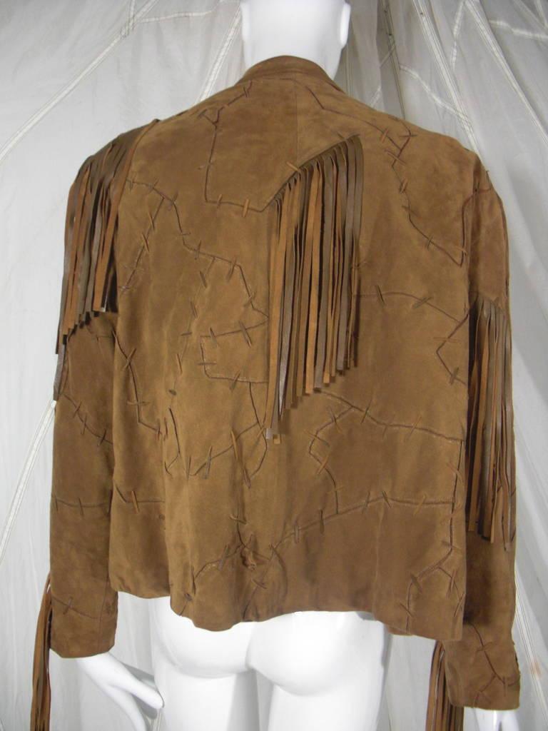 1980s Claude Montana Brown Suede Fringe Jacket 5