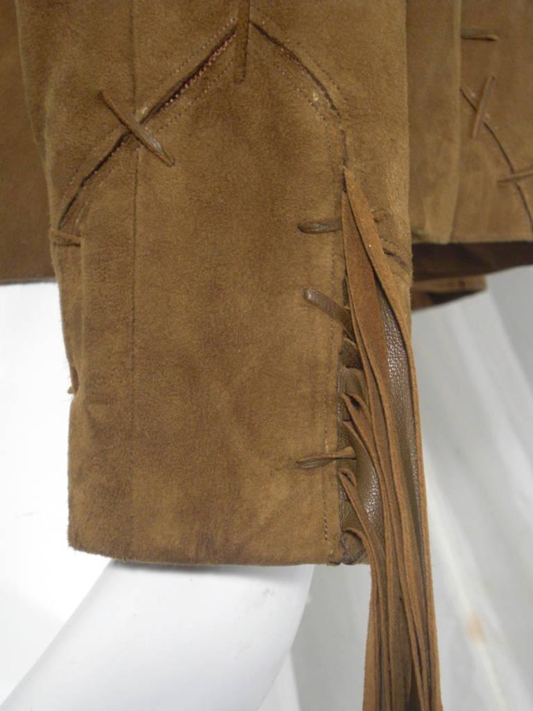 1980s Claude Montana Brown Suede Fringe Jacket 8