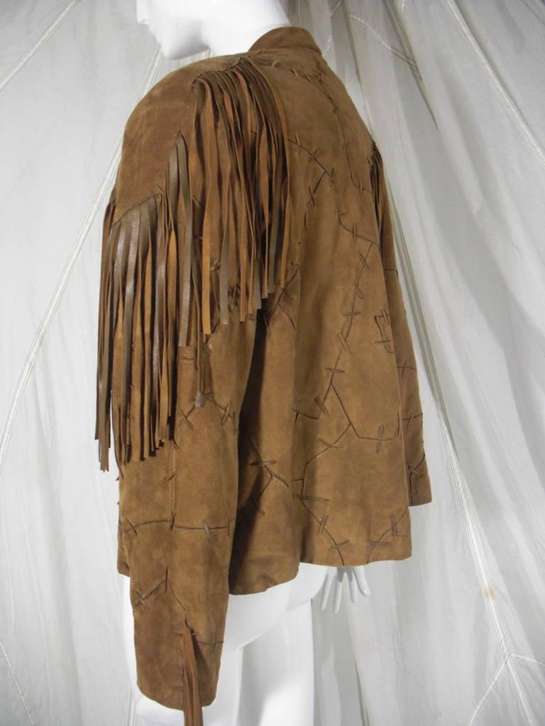 1980s Claude Montana Brown Suede Fringe Jacket 4