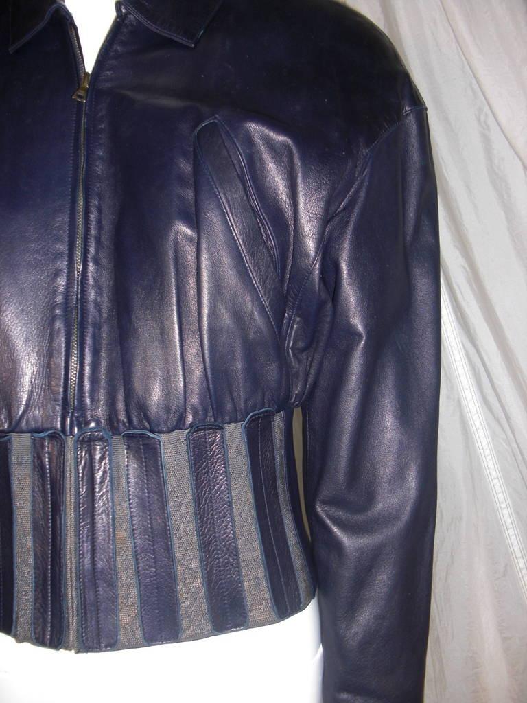 1980s Claude Montana Aubergine Leather Corseted Bomber 2