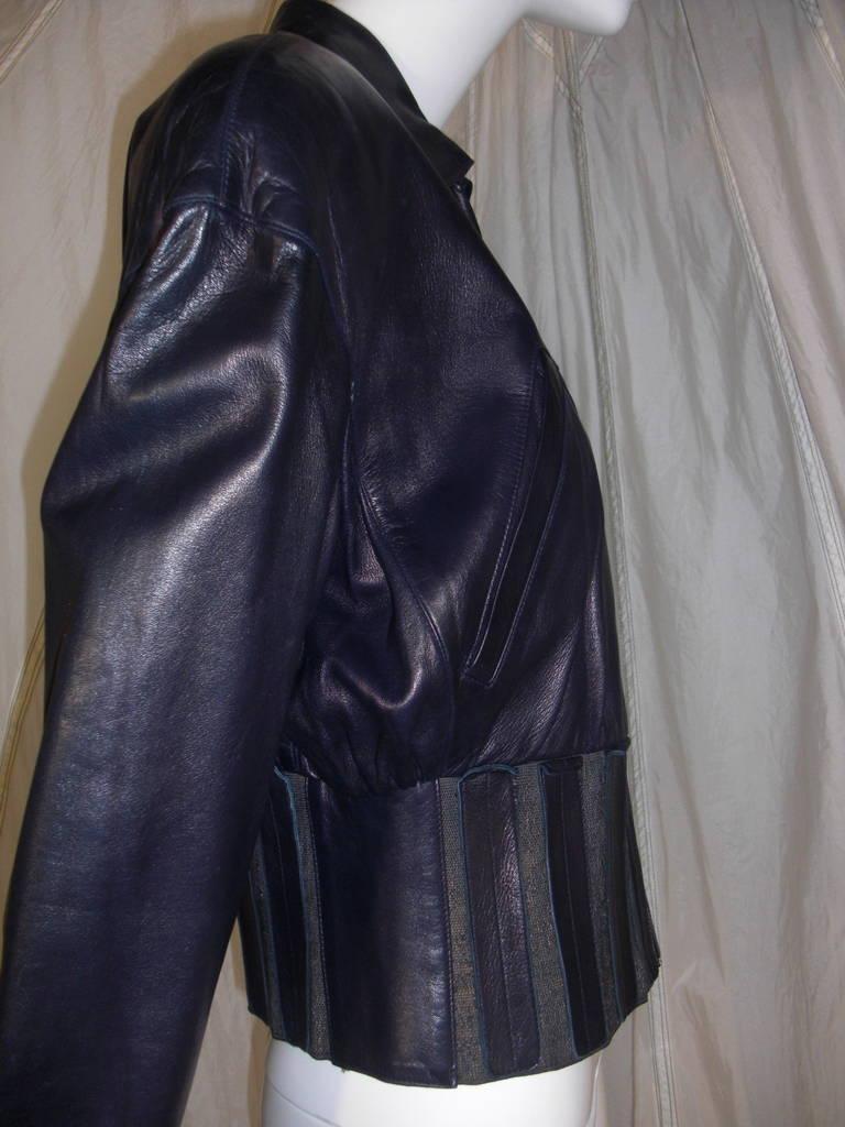 1980s Claude Montana Aubergine Leather Corseted Bomber 3