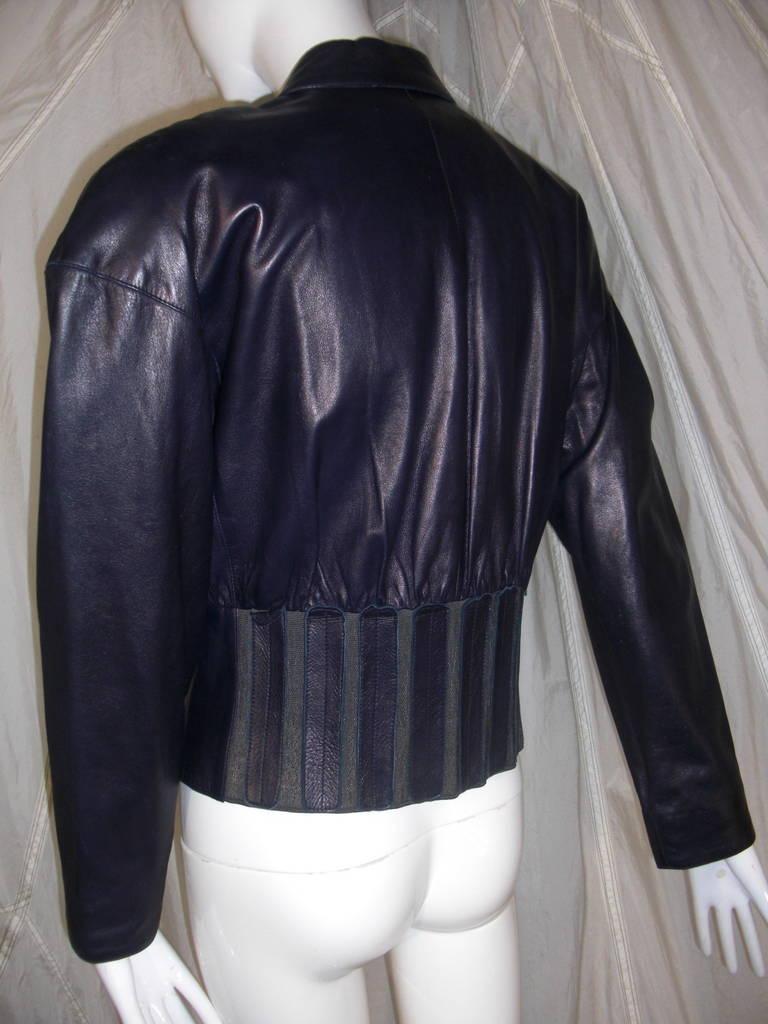 1980s Claude Montana Aubergine Leather Corseted Bomber 4