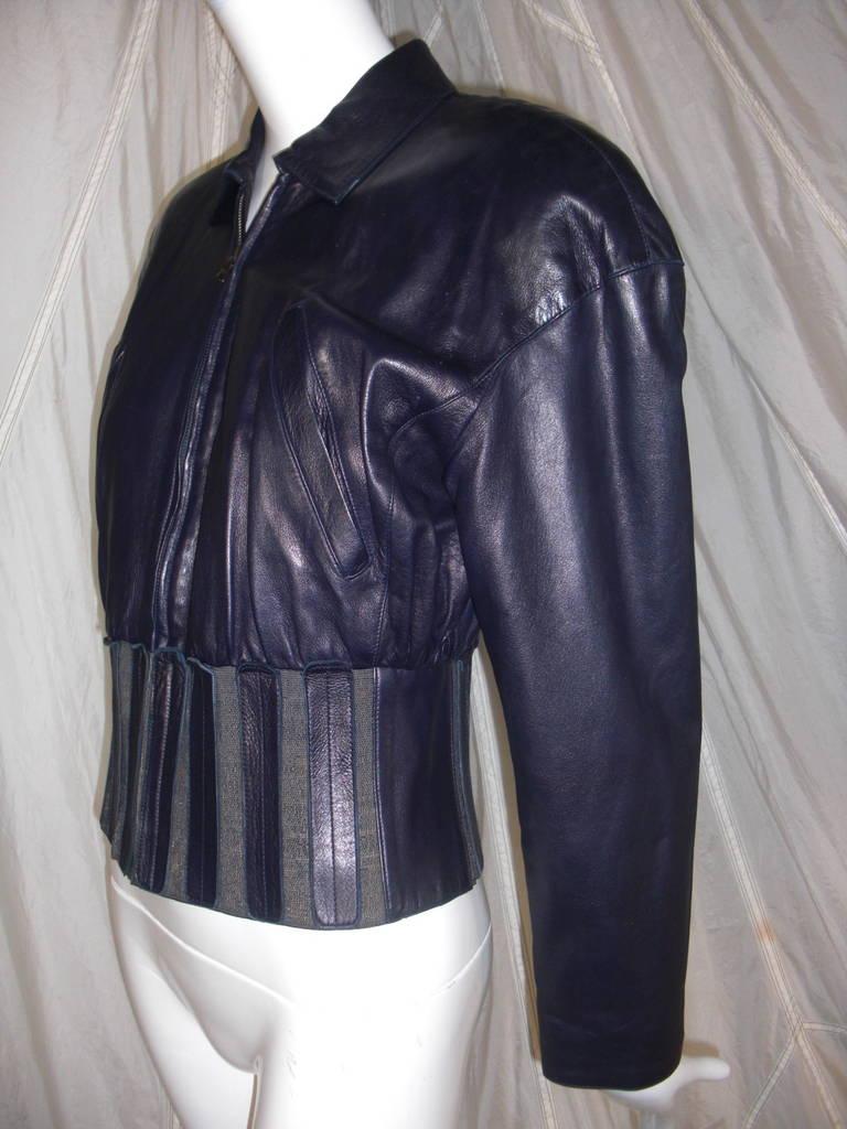 1980s Claude Montana Aubergine Leather Corseted Bomber 5