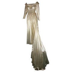 1949 Adeline Creme Satin Wedding Gown for City of Paris