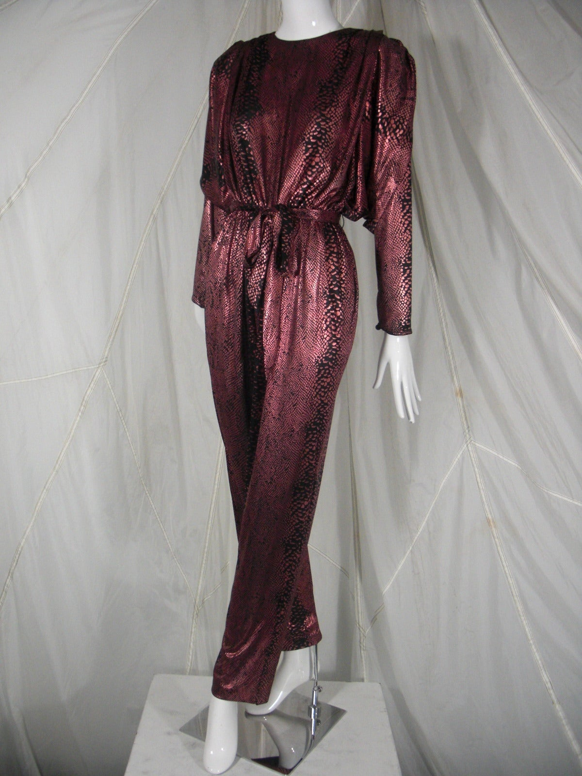 1980s David Brown for IMagnin Copper Snakeskin Jump Suit For Sale 1