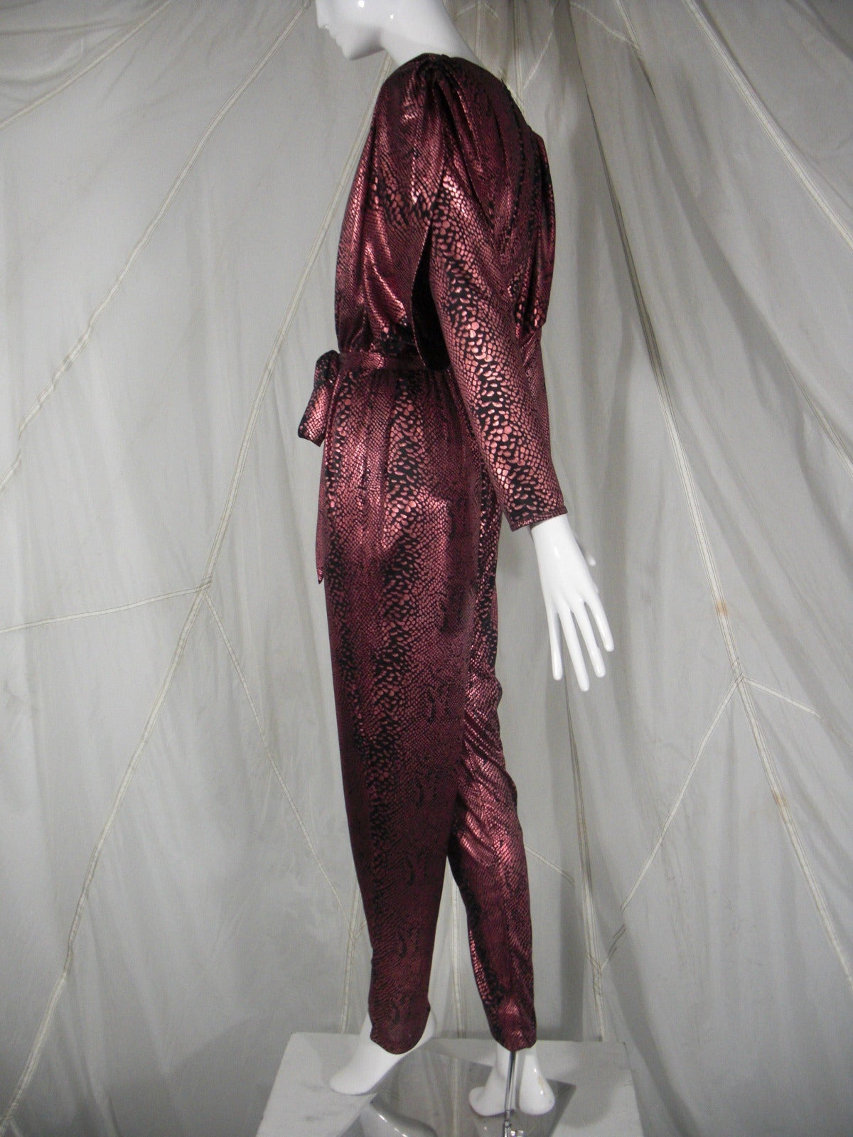 1980s David Brown for IMagnin Copper Snakeskin Jump Suit In Excellent Condition For Sale In San Francisco, CA