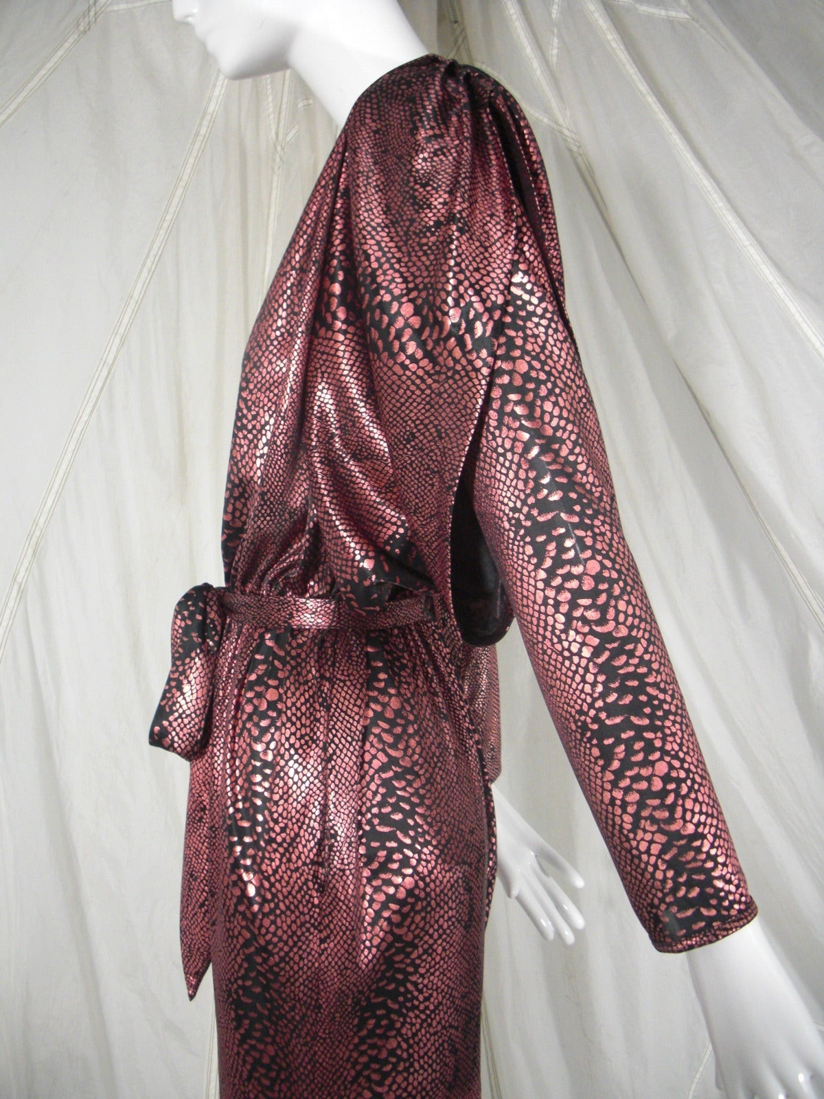 1980s David Brown for IMagnin Copper Snakeskin Jump Suit For Sale 2