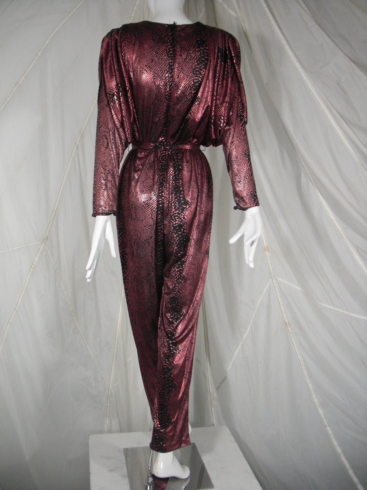 Women's 1980s David Brown for IMagnin Copper Snakeskin Jump Suit For Sale