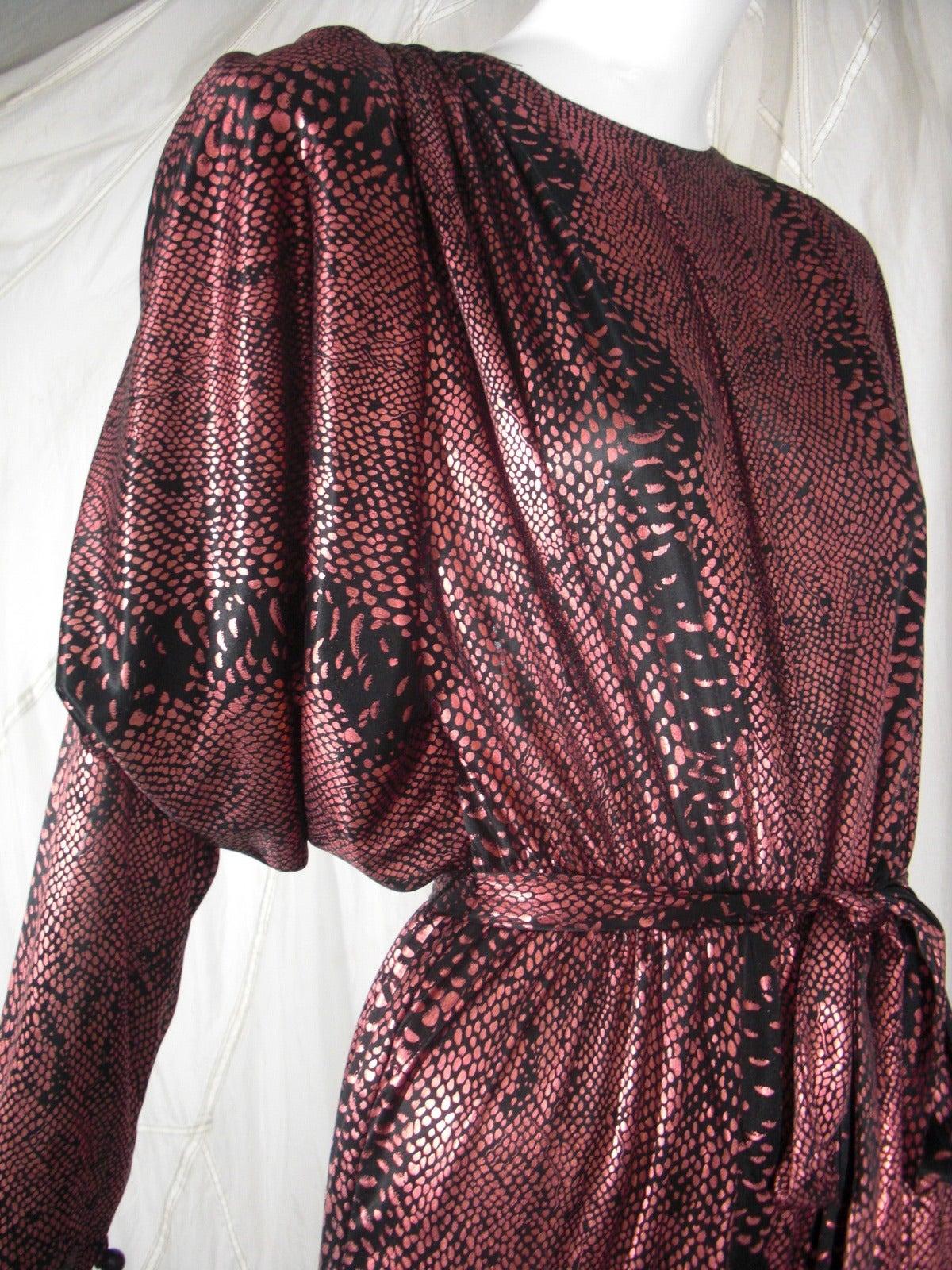 1980s David Brown for IMagnin Copper Snakeskin Jump Suit 7