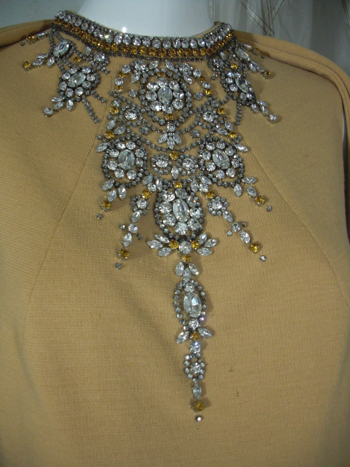 1960s Mr Blackwell Rhinestone Jeweled Knit Gown and Stole 2