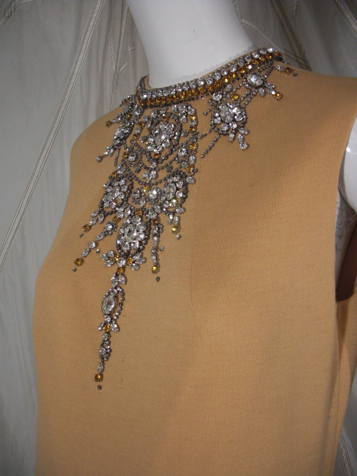 1960s Mr Blackwell Rhinestone Jeweled Knit Gown and Stole 6